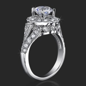 Antique Bezel Engagement Ring with Vintage Art Deco Styling and High Mount – bbr6709