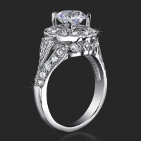 Antique Bezel Engagement Ring With Vintage Art Deco Styling And High Mount