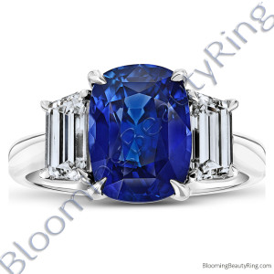 6.02ct. Cushion Blue Sapphire Ring with Trapezoid Side Stones – rcc20681