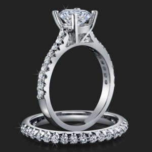 Jewelers Handmade Petite Common Prong Pave Set Brilliant Diamond Engagement Rings – bbr511