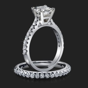 Jewelers Solitaire Princess Diamond Engagement Ring with Matching Wedding Ring – bbr511p