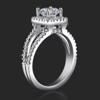 Square Halo Split Shank 62 Diamond Micro Pave Set Engagement Ring