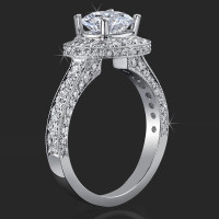 Unique Style Halo Engagement Ring with Ultra Diamonds High Quality All Over