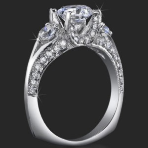 3 Stone Ring Uniquely Designed U Shaped Prongs for Maximum Beauty and Lovely Compliments – bbr368