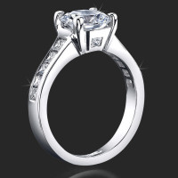 Invisible Channel Set Princess Diamond Engagement Ring Wide Band with Hidden Square Diamond