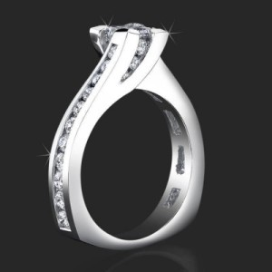 Unique Square Overlap Princess Ring with 28 Round Channel Set Diamonds – bbr432