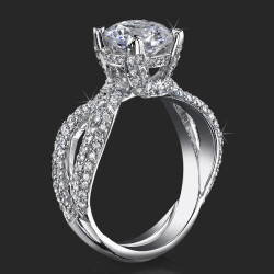 .98 ctw. Small Split Shank Micro Pave Diamond Engagement Ring - bbr427