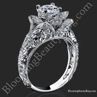 Diamond Embossed Blooming Rose Engagement Ring with Etched Carvings<br>$3000