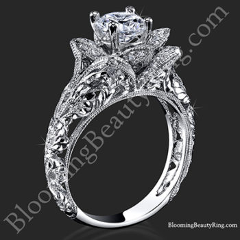 Diamond Embossed Blooming Rose Engagement Ring with Etched Carvings
