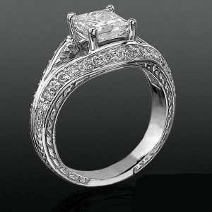 Diamond Paved Artistically Designed Split Shank Engagement Ring – bbrnw44012