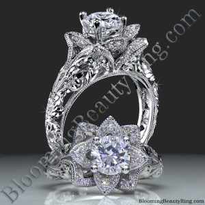 Diamond Embossed Blooming Rose Engagement Ring with Etched Carvings – bbr611-1