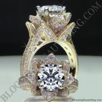 Yellow Gold Large Hand Engraved Blooming Beauty Flower Diamond Engagement Ring<br>$4500