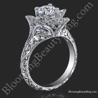 Hand Engraved 8 Petal .58 ct. Diamond Lotus Flower Ring<br>$2900