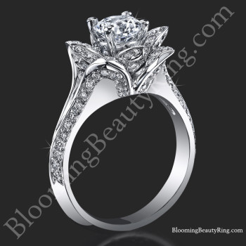 Lotus Ring 8 Petal 1.00 ct. Diamond Band Flower Ring - bbr588