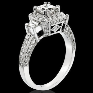 Octagonal Pave Styled 8 Pronged Halo Diamond Engagement Ring – bbr356
