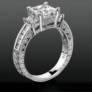 Princess Channel Set Beaded Milgrain Hand Carved Diamond Engagement Ring – bbrnw591034