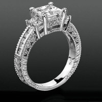 Princess Channel Set Beaded Milgrain Hand Carved Diamond Engagement Ring