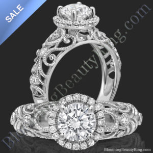 ON SALE! La Bella – Ornamental Filigree Diamond Halo Engagement Ring