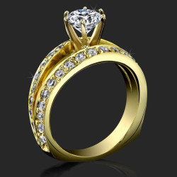 A Full Split Shank Slightly Soft Cornered Diamond Engagement Ring - bbr409