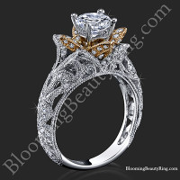 Art Carved Blooming Rose Flower Engagement Ring with Rose Gold Petals<br>$3100