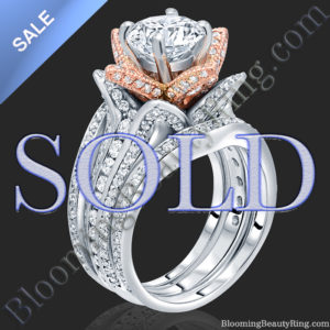 ON SALE! 2.38 ctw. Double Band White and Rose Gold Flower Ring Set