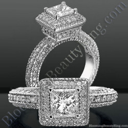 Crown Jewel Podium Halo Diamond Engagement Ring - bbr3299