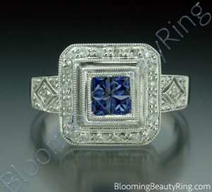 .57 ctw. Diamond and Blue Sapphire Double Square Top Ring – cgrRG5767
