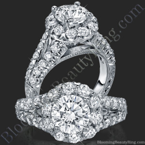 Diamond Go Round Halo Split Shank Engagement Ring – bbr567