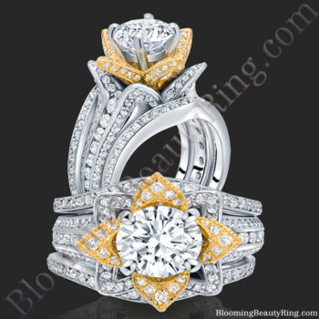 Double Band TwoToned White and Yellow Gold Flower Ring Set