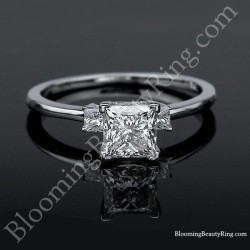 Elegant 3 Stone Princess Diamond Engagement Ring