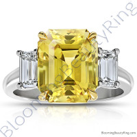 8.99 ctw. Emerald Yellow Sapphire Ring with Emerald Side Diamonds