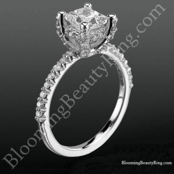 High Spirited Diamond Encrusted Unique Petite Engagement Ring