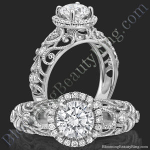 La Bella – Ornamental Filigree Diamond Halo Engagement Ring – bbr669