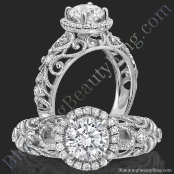 La Bella – Filigree Diamond Halo Engagement Ring