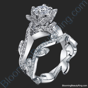 Lotus Ring with Leaves 1.22 ctw. Diamond Flower Engagement Ring Set – bbr587eb
