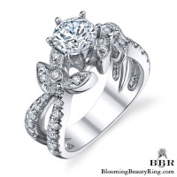 Lotus Leafy Split Shank Diamond Flower Engagement Ring