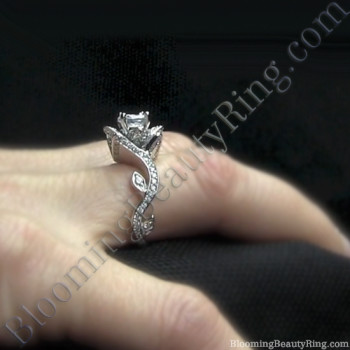The Lotus Swan 1ct. Diamond Engagement Flower Ring<br>$3300