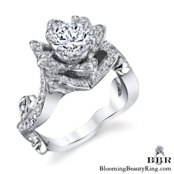 The Lotus Swan 1ct. Diamond Engagement Flower Ring