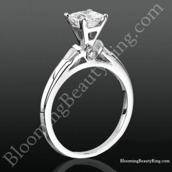 Modified Cathedral Bezel Set Engagement Ring with Peekaboo Diamonds