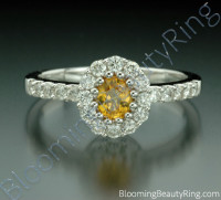 .85 ctw. Multi Prong Oval Yellow Sapphire and Diamond Ring