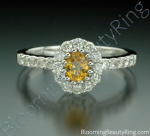 .85 ctw. Multi Prong Oval Yellow Sapphire and Diamond Ring – cgrRG187