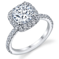 Petite Square Halo Round Shared Prong Set Diamond Engagement Ring