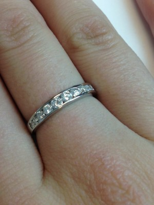Platinum Round Brilliant Diamond Wedding Band – Pretty