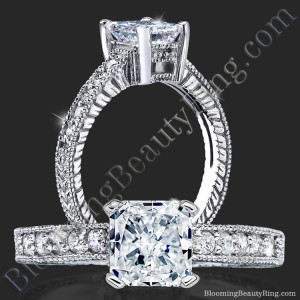 Radiant Diamond Ring with Low Mounting and Custom Engraving – bbr4311