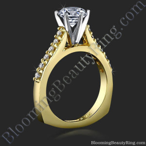 Raised Step Prong Round Diamond Engagement Ring with European Shank – bbr445e
