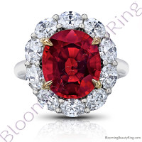 8.97 ctw. Red Oval Spinel Princess Di Halo Ring with Oval Side Diamonds