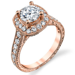 Rose Gold Diamond Halo Engagement Ring - Front View