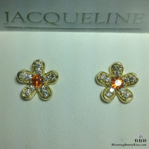 Round Brilliant Cut Orange Sapphire and Diamond Flower Earrings – jte383