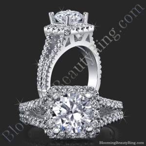 Round Diamond Square Halo Split Engagement Ring – bbr502
