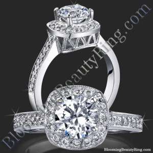 Round Halo Ring with Micropave Diamonds and Mill Grain Edges – bbr420